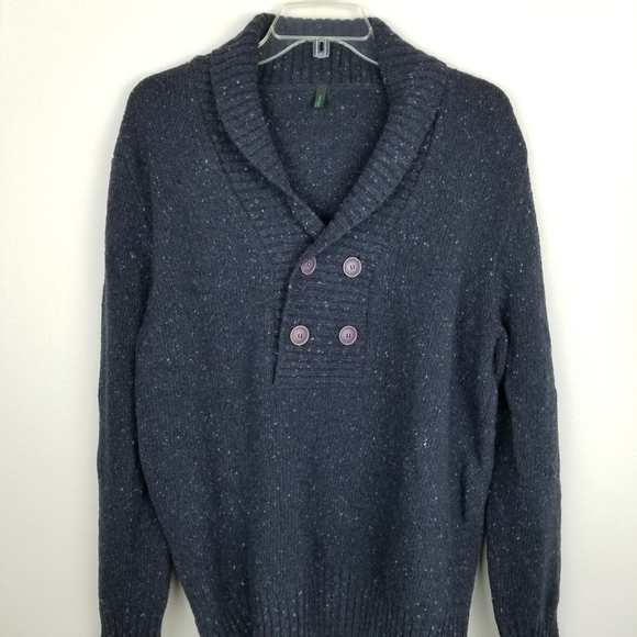 United Colors Of Benetton Other - Stile Benetton Mens Lg Blue Wool Blend Sweater